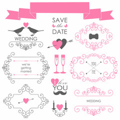 Vector set of design elements  for wedding card