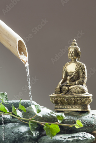 green zen attitude with Buddha as symbol of meditation