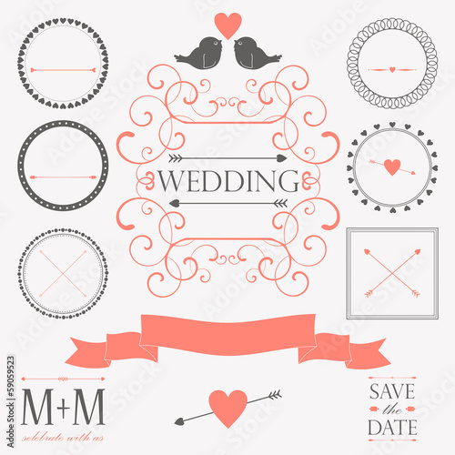 Vector set of wedding vintage design elements