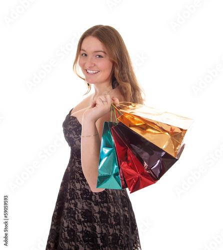 Junges Mädchen mit Einkaufstüten