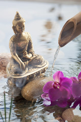 religious incense next to water Buddha
