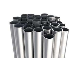 Metallic tubes - industrial background