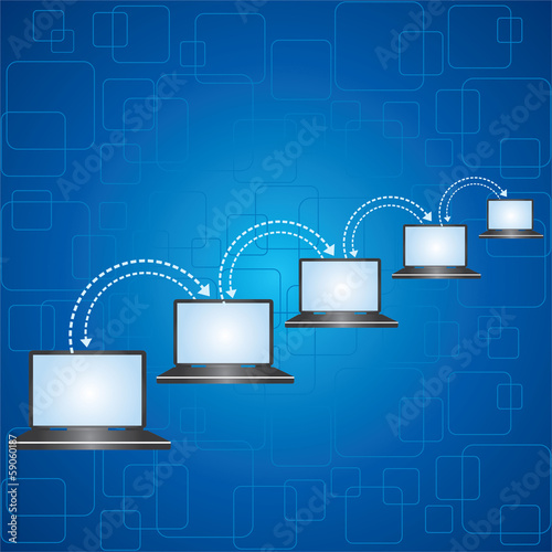 Different laptops connected together stock vector