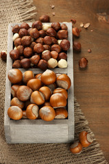 Hazelnuts in wooden box