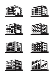 Different facades of buildings - vector illustration