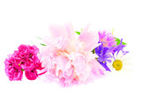 A bouquet of peony, carnation and clover isolated on white backg