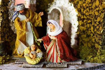 Piccolo presepe Gesù bambino Maria e Giuseppe