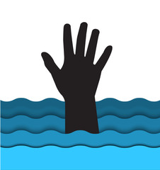 drowning man hand sticking out of the water