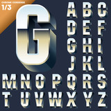 Alphabet of simple 3d letters. Sans bold. Upper cases Chrome
