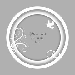 Vector wedding frame with a dove, flourish and rings