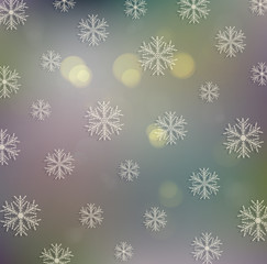 Old festive Christmas background with snowflakes