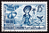 Postage stamp Tunisia 1960 Skanes Beach, Monastir and Mermaid