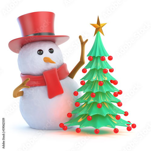 Snowman top hat decorates the Christmas tree