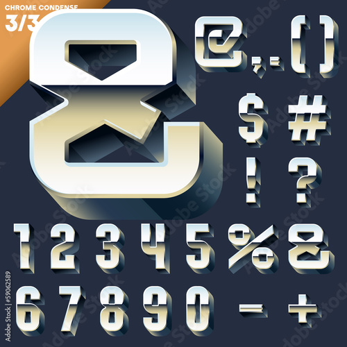 Alphabet of simple 3d letters. Sans bold. Symbols cases Chrome