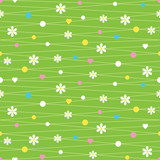 hearts flowers and dots pattern on green background