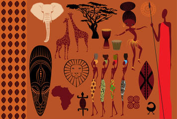 Africa: Icons, Symbols and Seamless Pattern