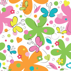 butterflies and flowers pattern