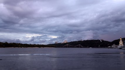 Cloudy sky over the river