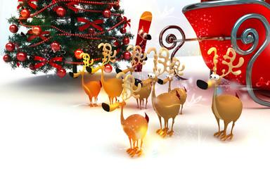 Babbo Natale, renne, slitta, regali, neve, feste, 3d