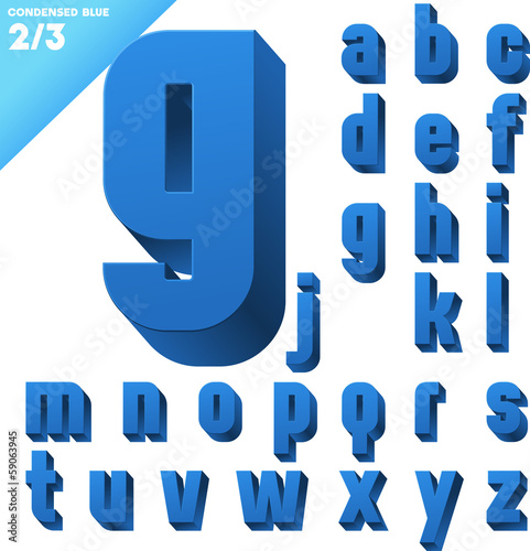 Three-dimensional condensed alphabet. Clear color style