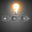 Creative light bulb with business strategy plan concept idea,