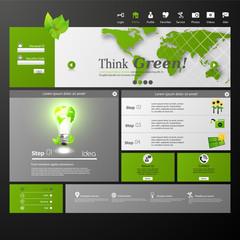 Clean Modern Website template in editable vector format /Green E