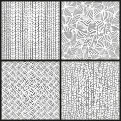 Seamless  hand drawn patterns set