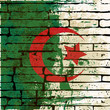 Grunged Algerian Flag over a brick wall  background  illustratio