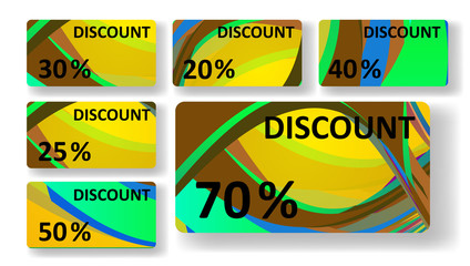 Retro discount cards, colorful digital Illustration.