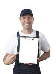 Portrait of smiling worker in blue uniform with tablet isolated