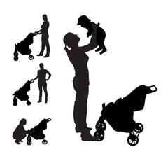 Mother with pram Silhouette Vector Illustration