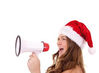 Mädchen mit Nikolausmütze und Megaphon