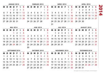 Kalendervorlage 2014, Visitenkartenformat