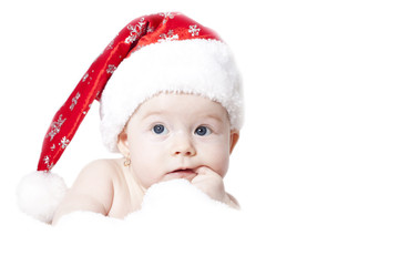 Baby with Santa hat isolated on white