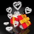 noble christmas present with heart with stars symbol