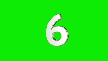 Countdown from 9 to 0 black and white greenscreen