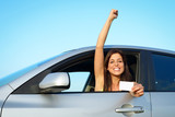 Woman passing car driving license test
