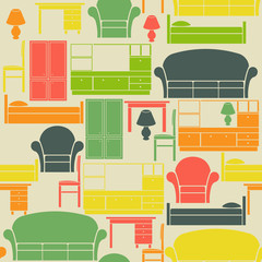 Seamless vintage pattern with furniture elements