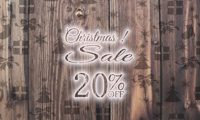 wooden Christmas discount 20 percent off symbol with presents