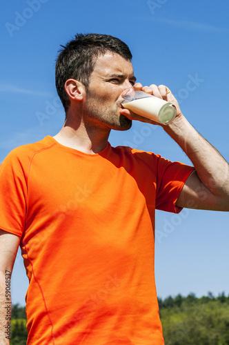 Leinwandbild Motiv drinking milk