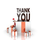 santa claus with gift and thank you sign
