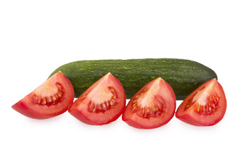 sliced tomato and whole cucumber