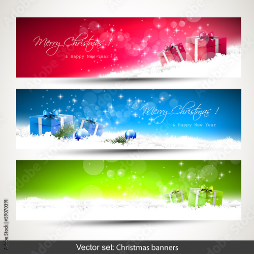 Set of three Christmas banners