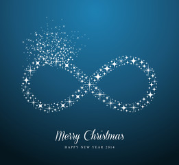 Infinite Merry Christmas and Happy New Year stars greeting card