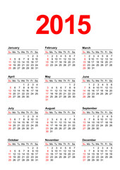 American Calendar 2015 - vertical
