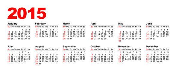 American Calendar 2015 - horizontal