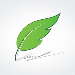 Pen logo, writer logotype