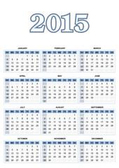 American calendar for 2015 in vector