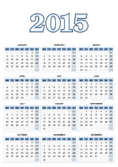 European calendar for 2015 in vector