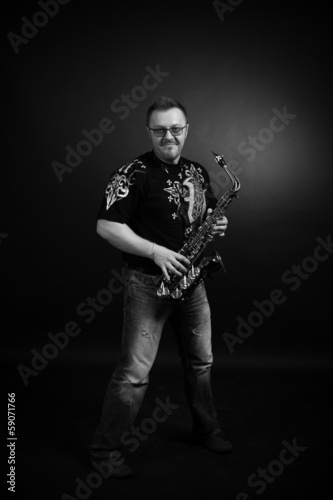 Black and white portrait of saxophonist